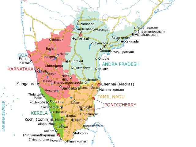 Carte De Linde Du Sud Cochin.Inde Du Sud